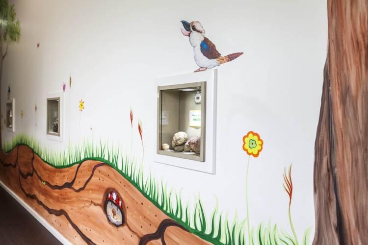 Hallway peek boxes and artwork
